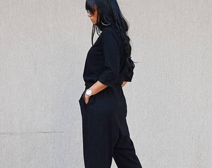 Featured listing image: Black jumpsuit, harem jumpsuit, plus size jumpsuit, black romper, loose romper, plus size romper, black overall, women's jumpsuit, romper