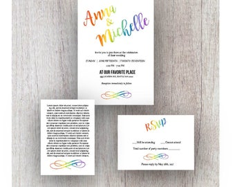 Rainbow Wedding Invitation Package