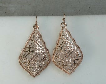 Rose Gold Filigree drop earrings, rose gold earrings dangling, popular cut out, pierced earrings, also silver or gold Filigree available.