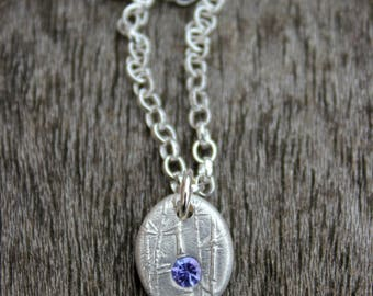 Tanzanite pendant, tanzanite necklace, tanzanite pebble pendant, silver tanzanite charm, blue gem jewelry, blue gem jewellery