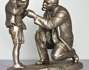 Metal bust Lenin - Soviet Union USSR Rare Stalin Memory Statuette Leader Interior Vintage Figurines Sculpture Home Art Vladimir Russian
