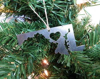 Maryland State Christmas Ornament Rustic Raw Steel Personalize Engrave Love MD Metal Holiday Decoration Stocking Stuffer House Warming Gift