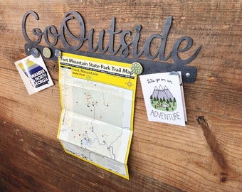"Go Outside 23"" Rustic Raw Steel Sign with a 2"" magnet board Inspirational Sayings Metal Sign OptOutside Hikers Wanderer BE Creations"