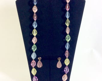 1960s Frosted Lucite Pastel Beaded Necklace and Earring Set