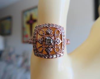 Genuine .30cttw Diamond Cluster 14k Rose Gold/925 Sterling Silver Designer Sz 7.5, Wt. 3.6 G