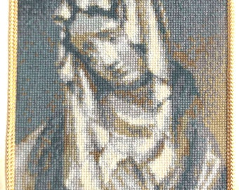 Vintage Needlework - Sorrowful Mother - Virgin Mary - Blue Needlework w Navy Blue Matting - Lent - Our Lady of Sorrows - Gift for Mom