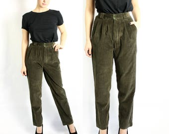 Vintage 80's Moss Green Corduroy High Waisted Wide Leg Tapered Pants Trousers