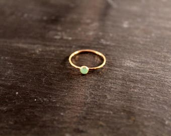 Chrysoprase Gemstone Stacking Ring ONE RING (Rose Gold Sterling Silver Mint Green Gemstone Stacking Ring Gifts Under 50)