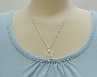 Silver Hollow Cat Necklace/Cat Jewelry/Cat Lovers Necklace/Feline Jewelry - Ready to Ship