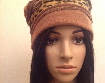 Brown Tan polar fleece winter Hat