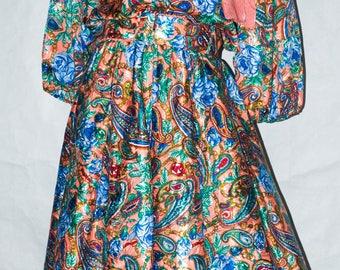 Diane Freis Paisley Georgette Round Collar Dress