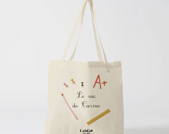 X470Y personalized school bag, kids tote bag, travel bag, cotton, Christmas tote bag, tote bag-school tote bag custom bag and Tote