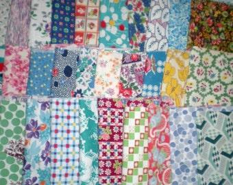 Vintage Feedsack Fabric SCRAP BAG Medium Pieces Cotton 1930's 1940's 1950's Quilt Craft Flour Sack Destash