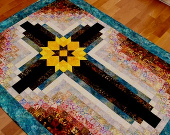 """Cross quilt - Painted Cross: wall hanging 42 in. x 55 1/2"""" in."""