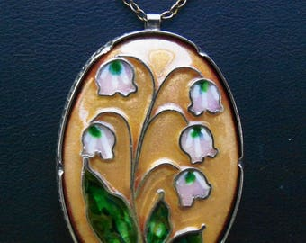 Vintage Oval Enamel Pendant featuring a Lily of the Valley Design - 18 inch Link Chain