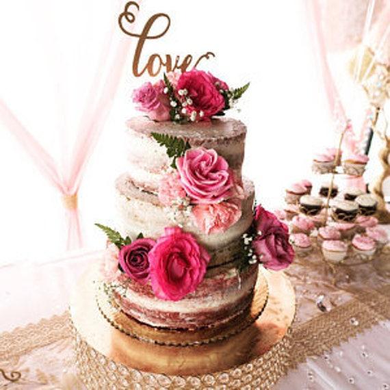 Love Cake Topper, Wedding Cake Topper, Cake Topper For Wedding,  Engagement Cake Topper, Glitter Cake Topper, Rose Gold Cake