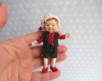Reserved- OOAK miniature Fairy, GNOME, Elf doll 1:12 Dollhouse miniature doll POSEABLE. Polymer clay Handsculpt art doll. Artist made