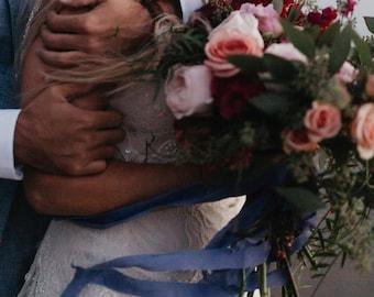 Periwinkle Satin Ribbon, Hand Dyed Ribbon, Bouquet Ribbon, Vintage Ribbon, Dusty Blue Ribbon, Wedding Styling, Bohemian Bride, Stylist