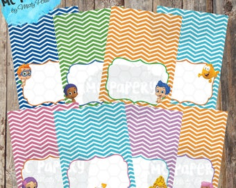 Bubble Guppies Printable Birthday Food Labels/Tent Cards - YOU PRINT