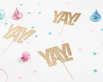 YAY! Cupcake Toppers, Fri-Yay Cupcake Topper, YAY Happy Birthday Topper, Celebration Cupcake Toppers,