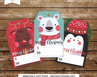 Printable Christmas tags Christmas gift tags Christmas favor tags naif tags cartoon tags reindeer tags printable tags holiday tag 135