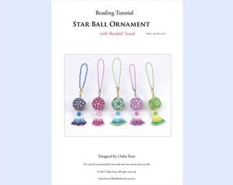 PDF Beading pattern, beaded star ball ornament, bag charm, pendant necklace, present, christmas ornaments, bead weaving tutorial, ept363-2