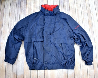 90s NAUTICA Zip Up Lightweight Jacket // Size XL Extra Large Mens Womens // Streetwear Navy Blue Windbreaker 1990s Hidden Hood