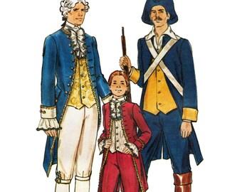 Boys Colonial Minuteman Statesman Costume Pattern Hamilton George Washington Historical Costume Sewing Pattern Butterick 4208 Boys Size 8