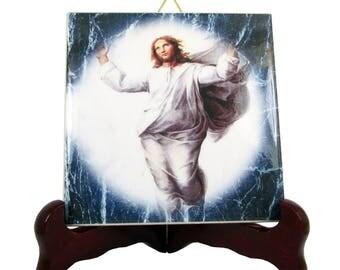 The Ascension of Jesus - christian icon on ceramic tile - religious wall hanging - jesus art, jesus christ, religious gifts, christian gifts