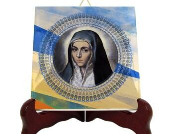 Catholic decor - Virgin Mary art - religious icon on tile - handmade religious decor - Virgin Mary icon - christian decor - catholic art