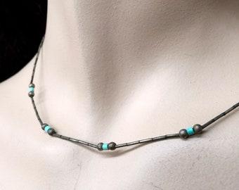 Vintage turquoise Necklace • Sterling Silver • choker • Southwestern Jewelry • Boho • Bohemian • Festival • dainty necklace  • minimalist