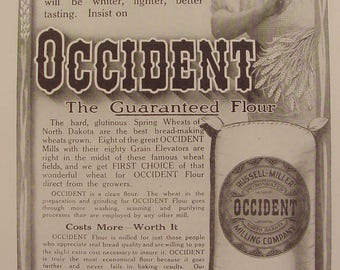 OCCIDENT Flour Russell-Miller Milling Co North Dakota Bag lady wheat 1912 Print Ad