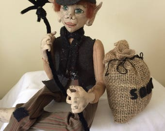 OOAK hand made cloth art doll, what the elf, chimney sweep,what the elf doll