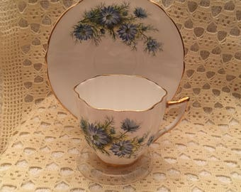 Royal Prince Blue Floral Bone China Teacup and Saucer, Made in England, Scalloped, Gold Trim, Blue Floral Teacup