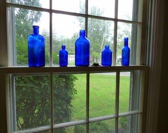 Vintage Cobalt Blue Decorative Glass Bottles  Set of 5 Five /Collectible Display Bottles /  Blue Vases / ALifetimeofVintage