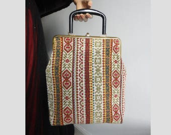 Lovely 60s Embroidered Vintage Vegan Top Handle Bag In Beautiful Colors