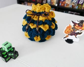 Dragon Scale - Yellow and Green - DICE BAG - Crochet