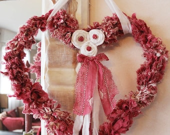 Heart of cloth hanging - Shabby chic style - charm and elegance