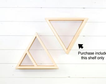 Wooden Triangle Shelf, Geometric Shelf, Floating Shelf