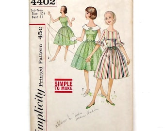 Vintage 60's Simplicity One-Piece Dress with Detachable Peter Pan Collar Sewing Pattern #4402 - Size 12s (Bust 31) **Needs some TLC