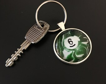 Key Chain (6 Ball) - Swirl Pool Ball Image under glass dome.