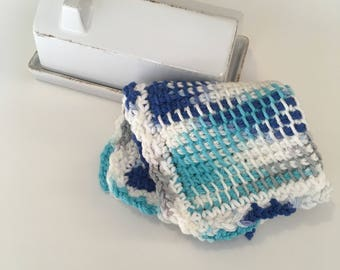 Large Farmhouse Washcloth - Blue Dishcloth - Crochet Washrag -  Tunisian Dishcloth - Spa Cloth - Facecloth - Womens Bath Supplies
