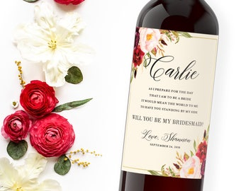 Will you be my bridesmaid? set of wine labels, bridesmaid gift idea - Fall Wedding Bridesmaid Proposal or Maid of Honor Thank You Gifts
