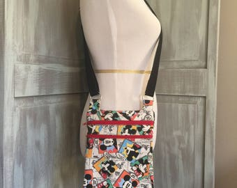Mickey and Minnie Mouse Zip and Go Bag, Crossbody with an Adjustable Strap