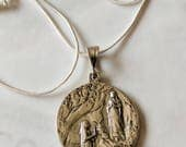 Necklace - Bernadette and Our Lady of Lourdes / St Joseph and Infant Jesus - Sterling Silver 31mm