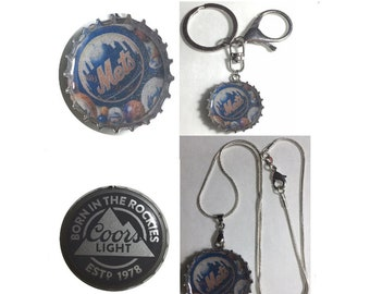 Coors Light Beer Bottle Cap NY Mets baseball Keychain, Pendant, Necklace