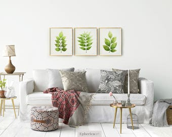 art pictures for living room. Botanical print Set of 3 wall art  Printable Leaves Gallery collection Living room Etsy
