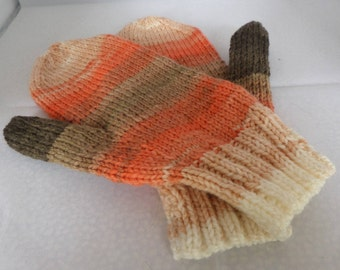 Hand knitted mittens,  hand made mitts, light autumn shades, other colours made, Ice yarns mitts, autumn mittens, winter accessory