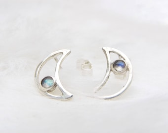 Moon earrings- Labradorite earrings- Labradorite studs- Tiny labradorite earrings- Gift for mum- Moon studs- Ethical jewellery- Little moons