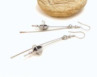 Boucles d'oreille longues noir argent, verre et acier inoxydable (BO26)